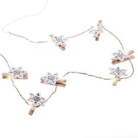 Elektriskā virtene DecoKing Kaleo Snowflake Wood LED w/ Clips, 10 gab.