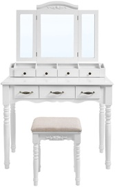 Kosmētikas galds Songmics Vanity, balta, 90x40x148 cm, with mirror