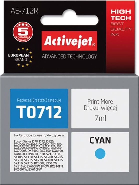 ActiveJet Cartridge AE-712R For Epson 7ml Cyan