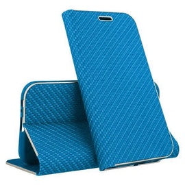 Mocco Carbon Leather Book Case For Samsung Galaxy S10 Blue