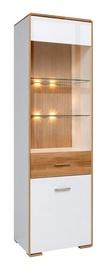 Black Red White Bari REG1W1DP LED Glass Door Cabinet White/Oak