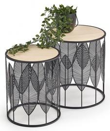 Kafijas galdiņš Halmar Folla, melna/smilškrāsas, 400x400x450 mm