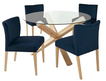 Home4you Turin Dining Set With Round Table 5pcs Brown Blue