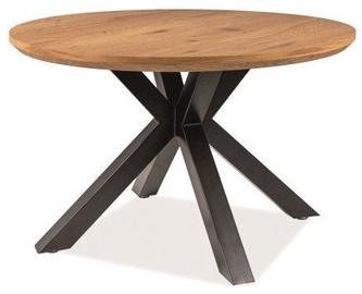 Pusdienu galds Signal Meble Loft Ritmo, melna/ozola, 1200x1200x750mm