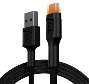Green Cell Ray LED Backlight USB To Micro USB Cable 1.2m Black