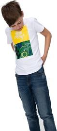 Audimas Junior Short Sleeve Tee White Green Yellow 128cm