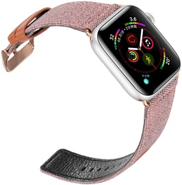Dux Ducis Canvas Leather Band For Apple Watch 38/40mm Pink/Brown