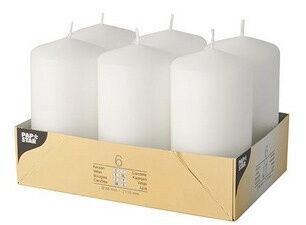 Свеча Pap Star Candle Cylinder 11.5cm 6pcs White