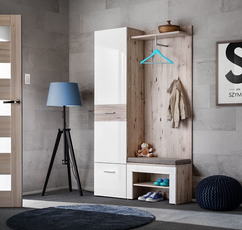 ASM Gustavo V w/ Pillow Hallway Wall Unit Set Gloss White/Wellington Oak