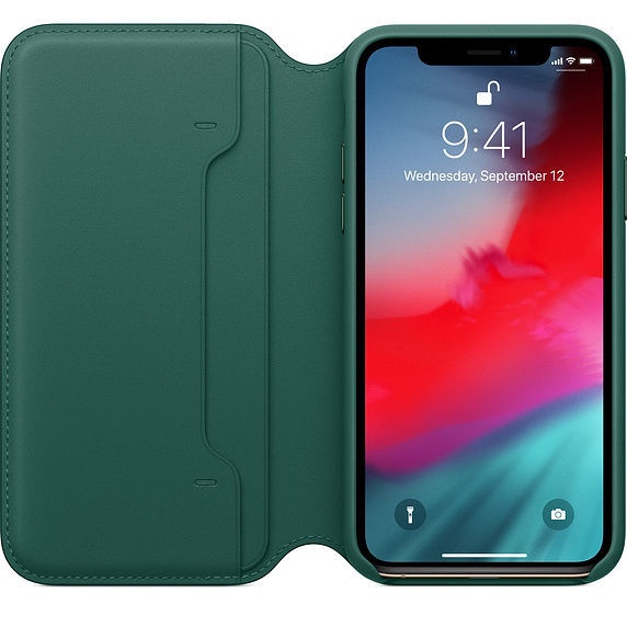 Apple Leather Folio Case For Apple iPhone XS Forest Green