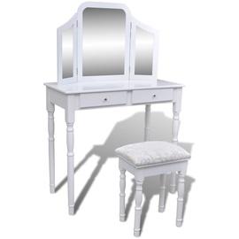 Столик-косметичка VLX With Stool 241003, белый/серебристый, 40.5 см x 80 см x 74.5 см, с зеркалом