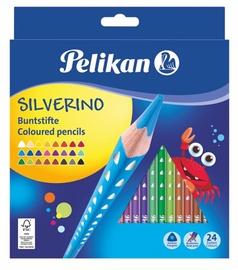 Pelikan Карандаши цветные, Silverino, трехгранные, SOFT тонкий, 24 цветов