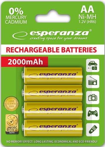 Esperanza Rechargeable Batteries 4x AA 2000mAh Yellow