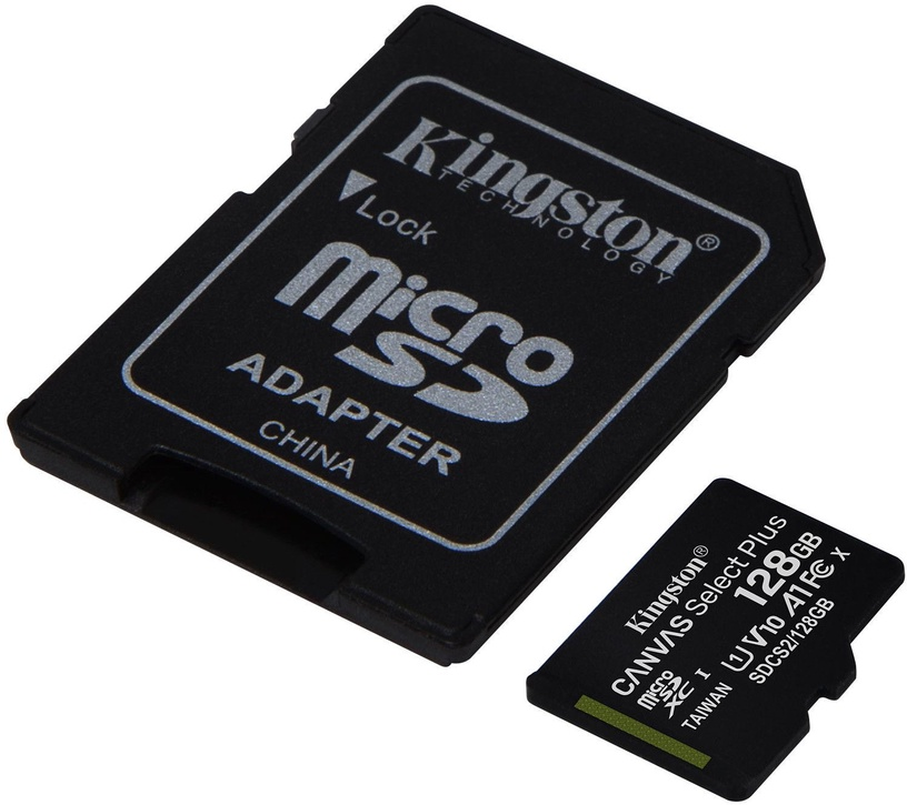 Kingston Canvas Select Plus 128GB microSDXC UHS-I Class 10 + SD Adapter