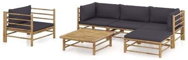 Āra mēbeļu komplekts VLX Garden Lounge Set Bamboo, pelēks/brūns, 4-5 sēdvietas