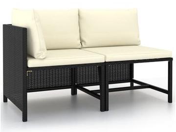 Садовый диван VLX Poly Rattan, черный, 114 см x 60 см x 60 см