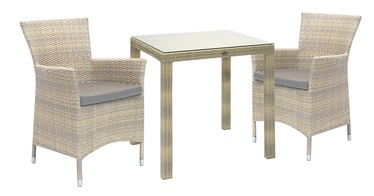Home4you Wicker Table And 2 Chair Set Beige