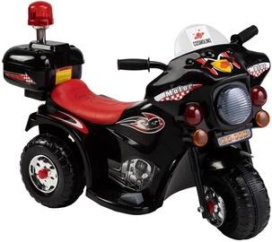 Melns bērnu motocikls ar sānu ritentiņiem