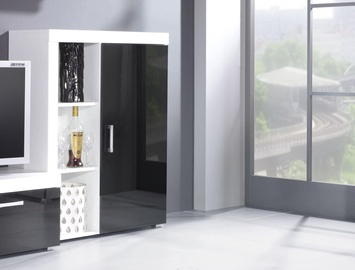 Skapītis Cama Meble Samba, balta/melna, 90x35x114 cm
