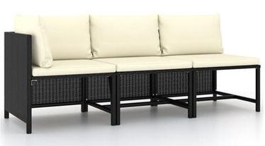 Dārza dīvāns VLX Poly Rattan 3 Piece, melna, 168 cm x 60 cm x 60 cm