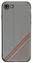 Mocco Trendy Grid And Stripes Pattern 1 Back Case For Apple iPhone 7/8 White