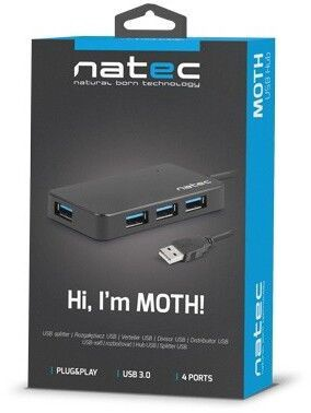 Natec Hub USB 3.0 4-Port Black