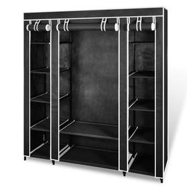 Skapis VLX Wardrobe Compartments and Rods Black, melna, 150 cm x 45 cm x 176 cm