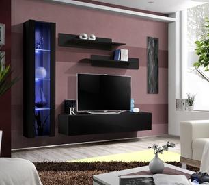 Dzīvojamās istabas mēbeļu komplekts ASM Fly G Vertical Glass Black/Black Gloss