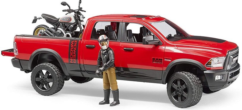 Bruder Ram 2500 Power Wagon With Ducati Scrambler Desert Sled & Driver 02502