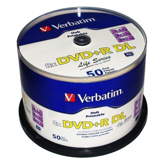 Verbatim DVD+R DL 8X 8.5GB Double Layer Printable 50P Spindle