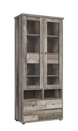 Шкаф-витрина Black Red White Tarbes Canyon Oak, 83x39x188 см