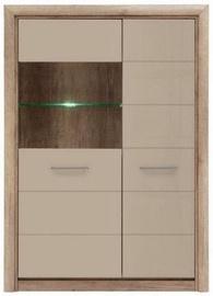 Шкаф-витрина Black Red White Koen 2 Monument Oak/Gray Sand Gloss, 98.5x40x138 см