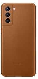 Samsung Leather Back Case For Samsung Galaxy S21 Plus Brown