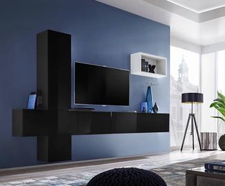 Dzīvojamās istabas mēbeļu komplekts ASM Blox VI Black/White