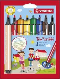Фломастер Stabilo Trio Scribbi, односторонние, 8 шт.