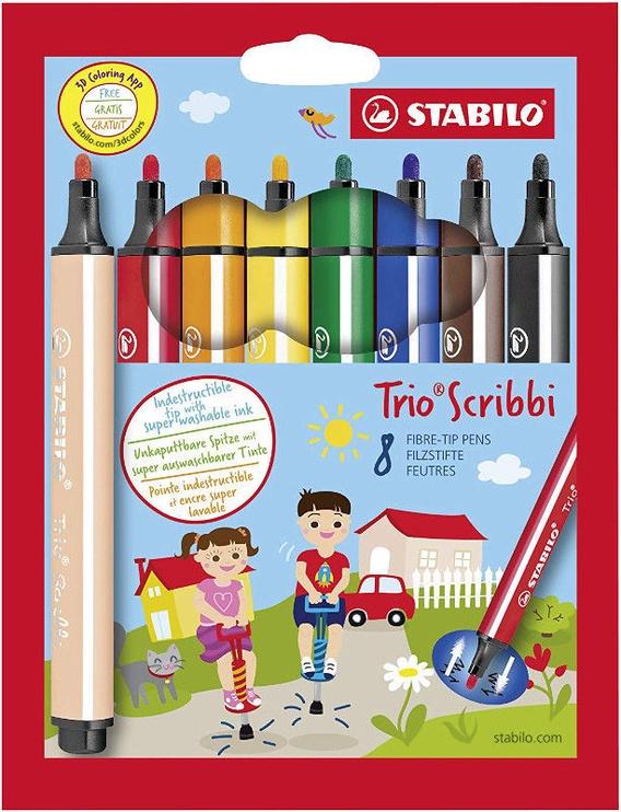 Stabilo Fibre-Tip Pens Trio Scribbi 8pcs