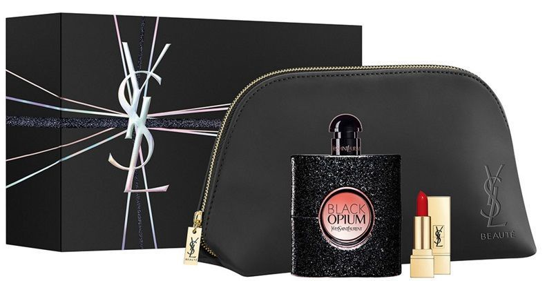 Yves Saint Laurent Black Opium 90ml EDP + 1.3g Rouge Pur Couture Lipstick + Cosmetic Bag