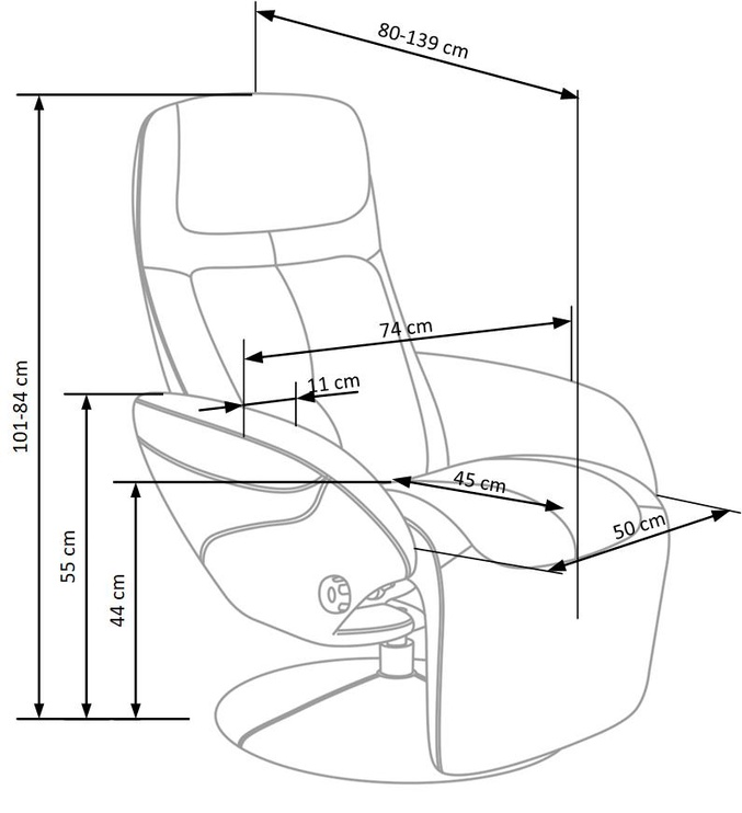 Atzveltnes krēsls Halmar Optima Beige, 80x77x84 cm