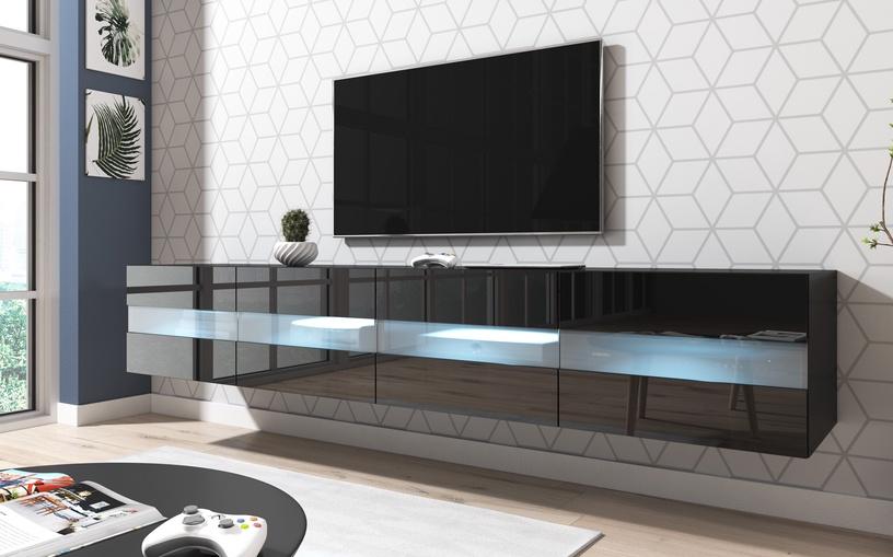 ТВ стол Vivaldi Meble Rita Double, черный, 2000x420x350 мм