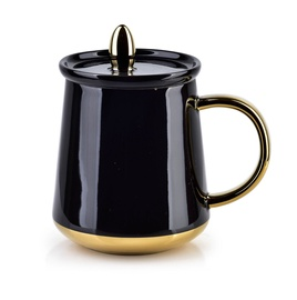 Mondex Basanti Cup With Lid 380ml Black/Gold