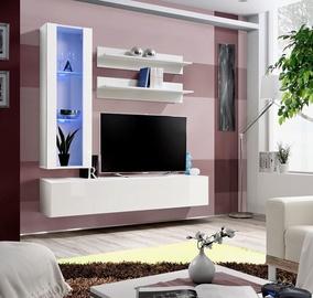 ASM Fly H Living Room Wall Unit Set Vertical Glass White/White Gloss