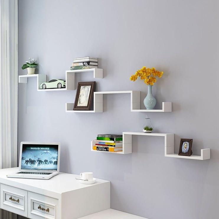 Songmics Wall Shelf White 40/35/30 3pcs