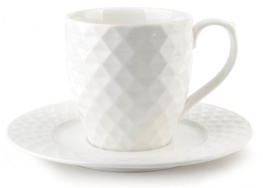 Mondex Diamond Cup And Saucer White