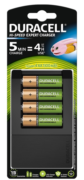 Duracell Hi-Speed Charger CEF15 +4AA Rechargeable
