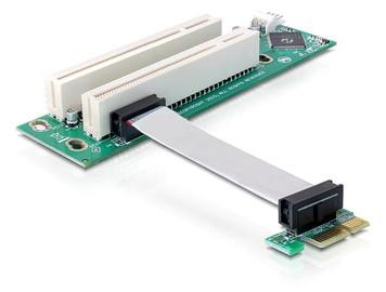 Paplašināšanas karte Delock RISER CARD PCI EXPRESS X1 2 X PCI 32 BIT 5 V WITH FLEXIBLE CABLE 9 CM LEFT INSERTION