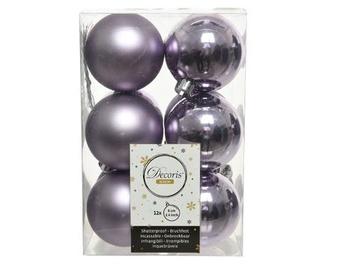 Ziemassvētku eglītes rotaļlieta Decoris 21841 Purple, 60 mm, 12 gab.