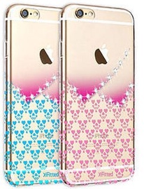 X-Fitted Hearts Swarovski Crystals Back Case For Apple iPhone 6/6s Blue