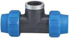 """Poliext PP Pipe 3-Way with Internal Thread Black/Blue 32x1""""x32mm"""