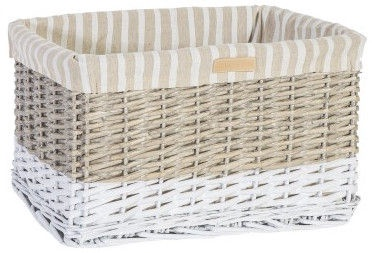 Home4you Basket Max 1 40x26xH24cm White/Beige