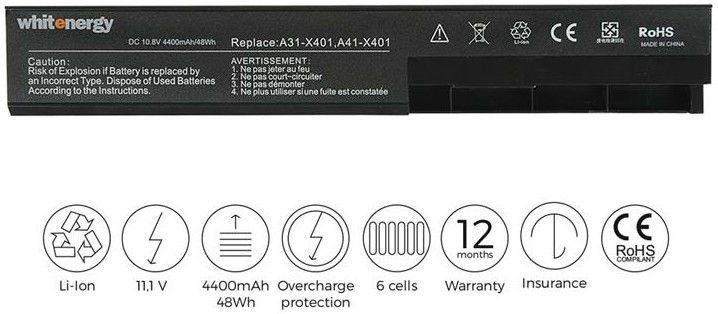 Whitenergy Premium Battery for Asus X301/X401A 2200mAh